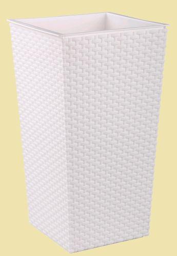 Кашпо пластмассовое напольное Ротанг со вставкой ((220*220*415) белый Альтернатива - купить в интернет магазине ХозСити по низким ценам